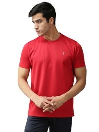 EPPE Men's Round Neck Half Sleeve Red Dryfit Micropolyester Active Performance Sports Tshirt