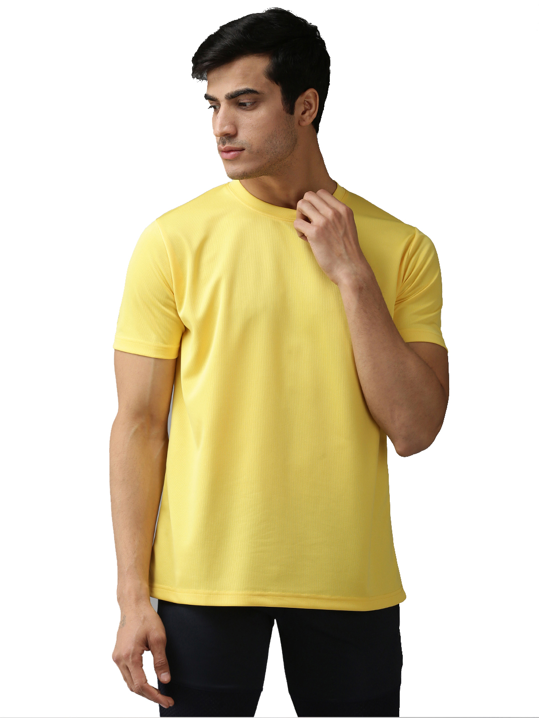 EPPE Men's Round Neck Half Sleeve Yellow Dryfit Micropolyester Active Performance Sports Tshirt
