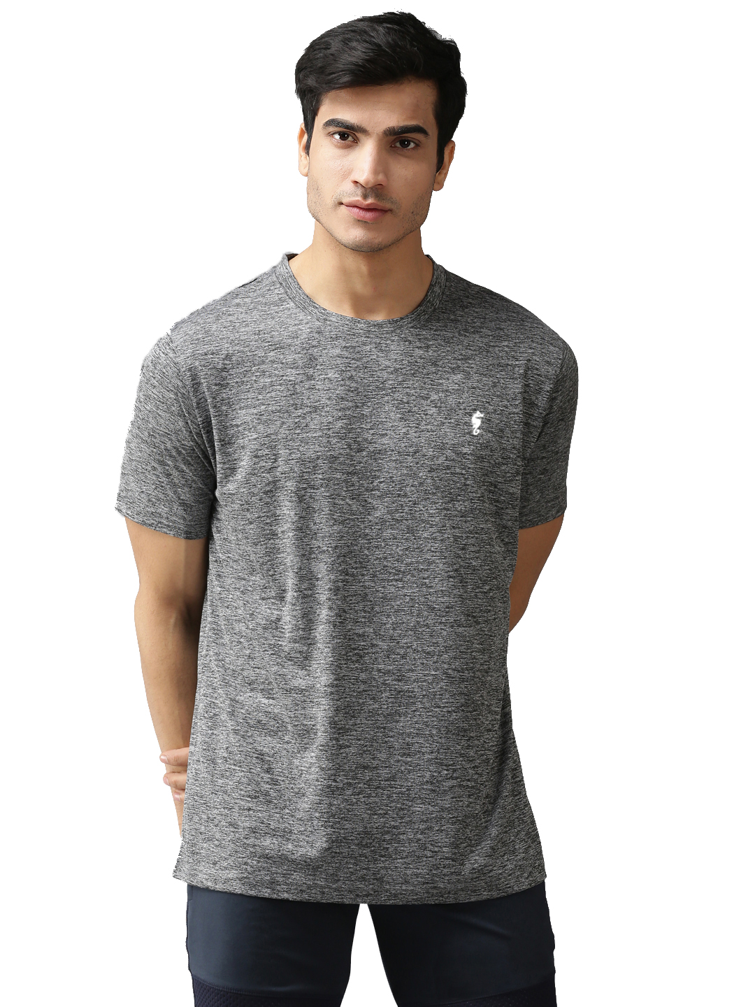 EPPE Men's Round Neck Half Sleeve Grey Melange Dryfit Micropolyester Active Performance Sports Tshirt