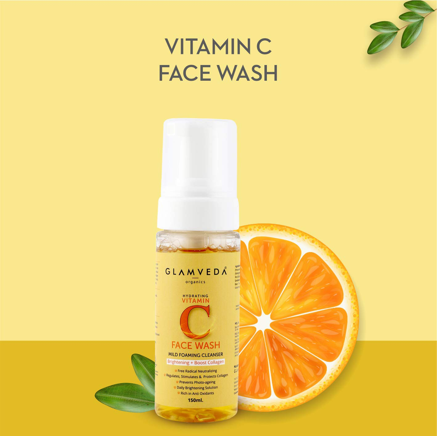 GLAMVEDA VITAMIN C BRIGHTENING FOAMING FACE WASH |150 ml | PARABEN FREE