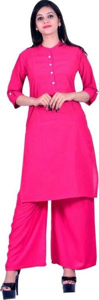 Palsiya Presents Pink Solid Straight Kurta