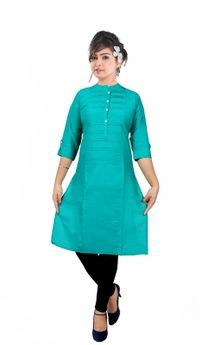 Palsiya Presents Green Solid Straight Kurta