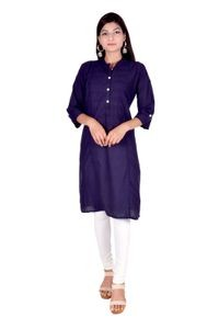 Palsiya Presents Blue Solid Straight Kurta