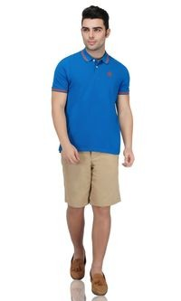 92ELMNTS Men Regular fit Polo neck Solid T-Shirt - Blue