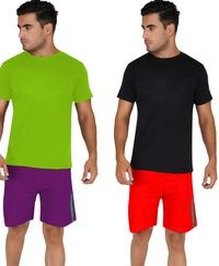 92elmnts Men Knitted Shorts Red And Violet Combo Of 2