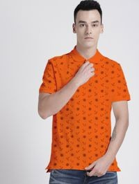 92elmnts Orange Men's Printed Polo