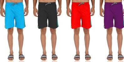 92elmnts Men Knitted Shorts Red And Violet Combo Of 4