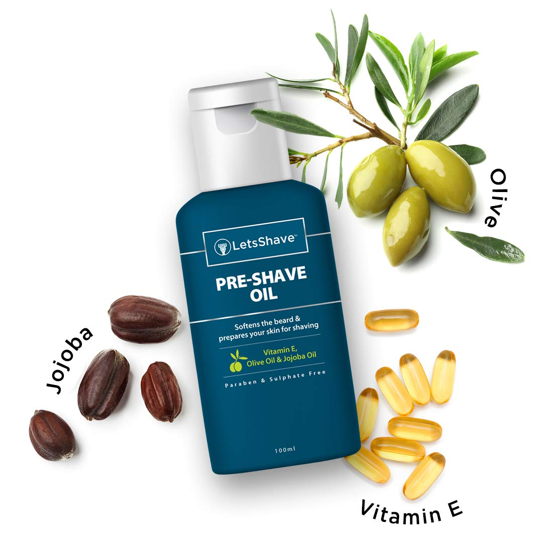 LetsShave Pre Shave Oil with 100% Natural Essential Oil and Vitamin E for an irritation-free shave -100ml