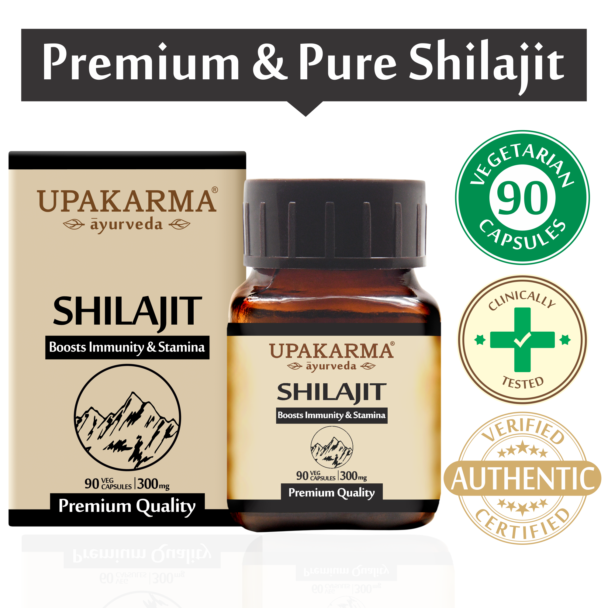 Upakarma Shilajit  Extracts 100% Natural & Pure Shilajeet For Men - 90 Capsules - Pack of 1