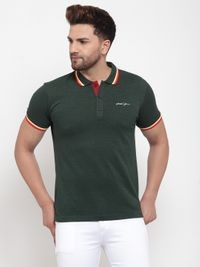 VENITIAN Green Cotton Blend Polo Neck T-shirt For Men