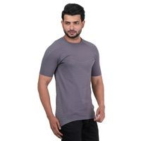 VENITIAN Grey Nylon Round Neck T-shirt For Men
