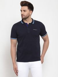 VENITIAN Navy Cotton Blend Polo Neck T-shirt For Men