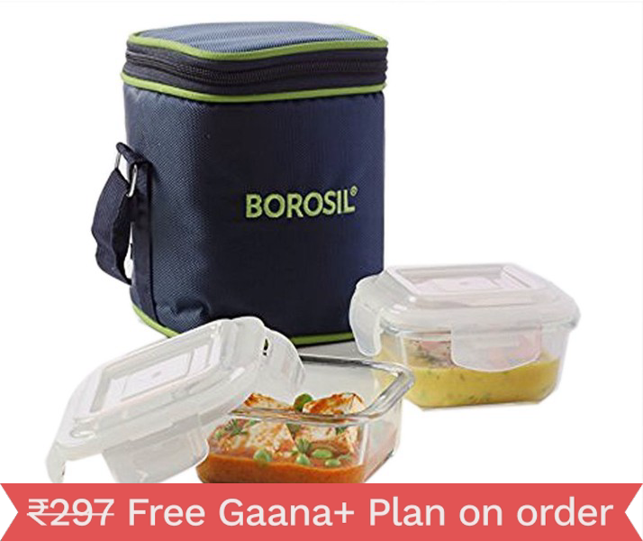 Borosil Glass Tiffin Set 2 Containers Lunch Box????????????????(320 Ml) Vertical
