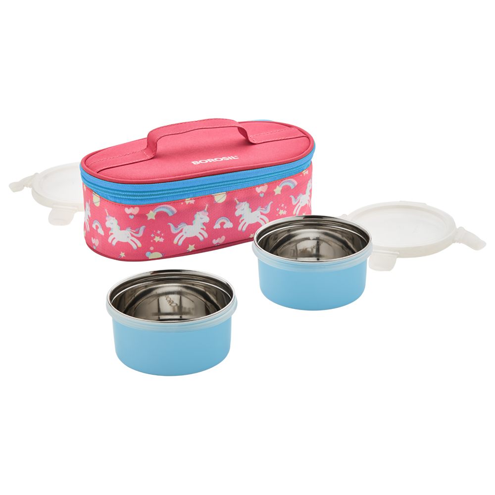 Candypink lunch box set of 2 with Stainless steel blue Containers (300 ml + 300 ml)(CFSWSET2CL13)