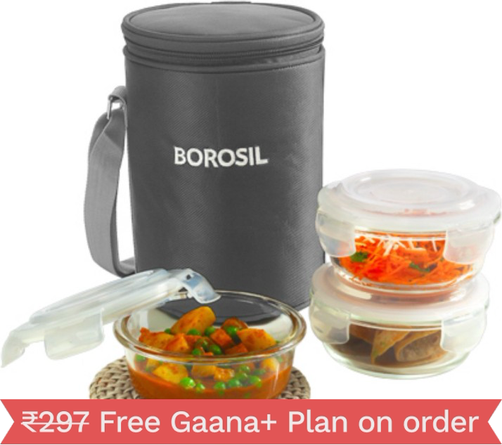 Borosil Klip-N-Store 3 Containers Lunch Box????????????????(400 Ml) Grey
