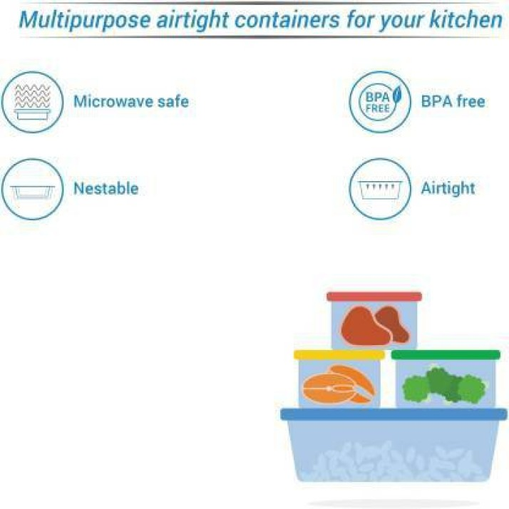 Borosil Microwavable Klip - N - Store Round Dish With Lid - 620 Ml, 950 Ml, 400 Ml Glass Grocery Container