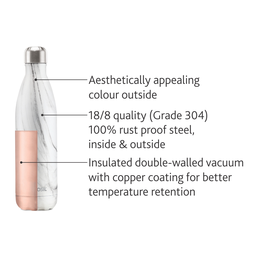 Borosil Stainless Steel Hydra Bolt Marble - Vacuum Insulated Flask Water bottle, 500ML(BT0500MR207)