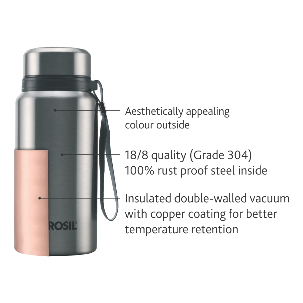 Borosil Stainless Steel Hydra Natural - Vacuum Insulated Flask Water bottle, 500ML(BT500SSB107)