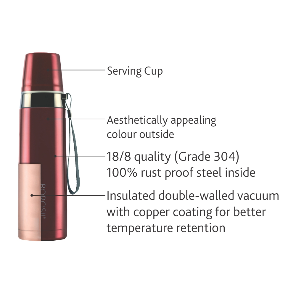 Borosil Stainless Steel Hydra Prism - Vacuum Insulated Flask Water bottle, 650ML(FL650RED103)