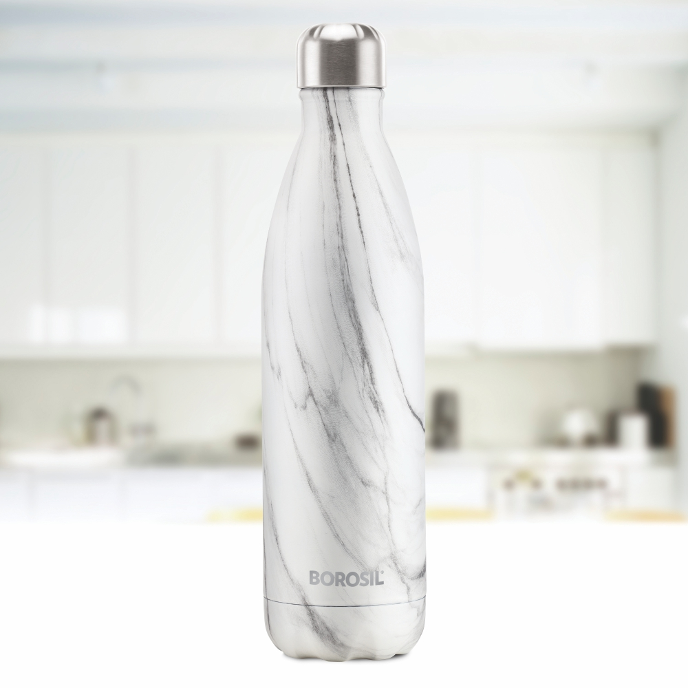 Borosil Stainless Steel Hydra Bolt Marble - Vacuum Insulated Flask Water bottle, Marble, 750ML(BT0750MR208)