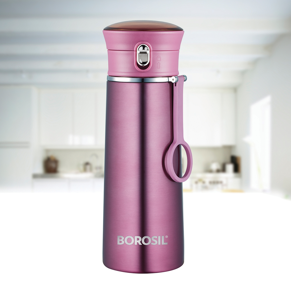 Borosil Stainless Steel Hydra Travelease - Vacuum Insulated Flask Water Bottle, 360 ML, Purple(BT360PE114)