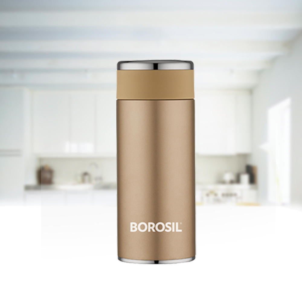Borosil Stainless Steel Hydra Travelsmart - Vacuum Insulated Flask Water Bottle, 200 ML, Rose Gold(BT200RG116)