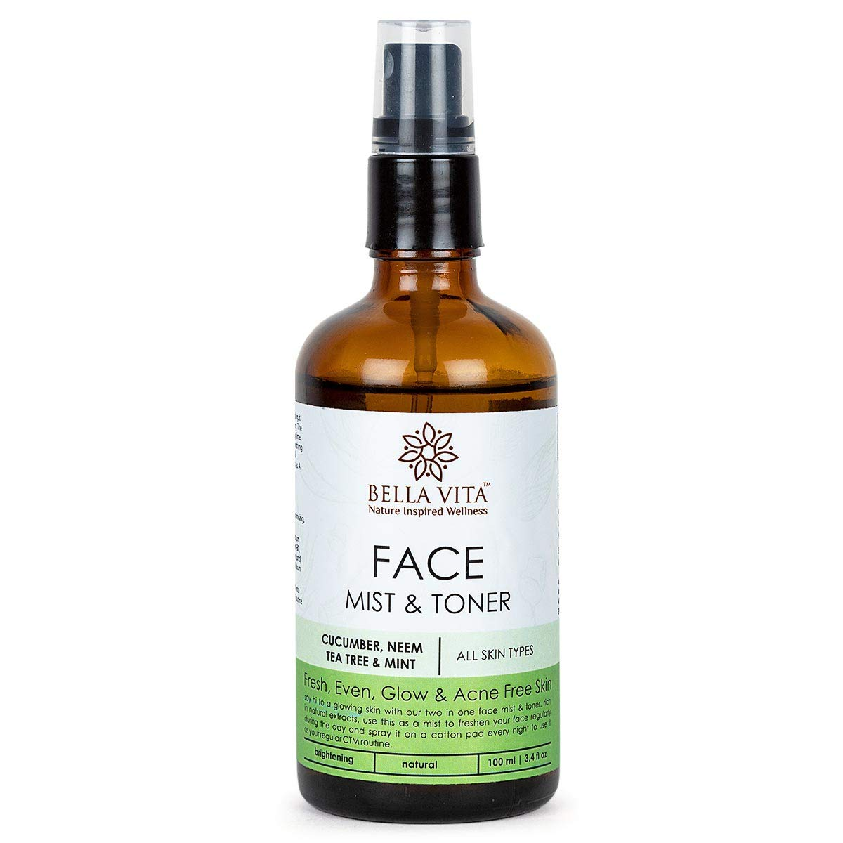Bella Vita Organic Natural Face Mist & Toner For Glowing Skin & Acne Free Skin With Tea Tree, Cucumber, Neem & Mint