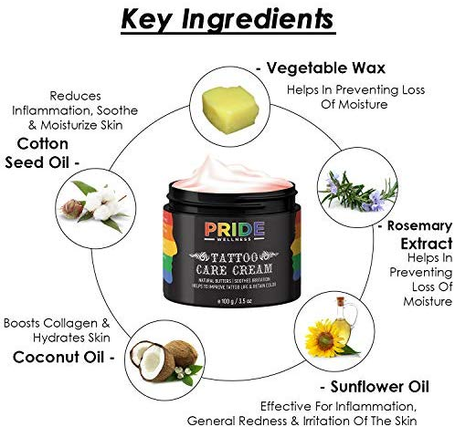 Pride Wellness Tattoo Aftercare Cream Body Lotion With Natural Butters To Improve & Care For Tattoo Life, Retain Color & Soothe Irritation, 100 g