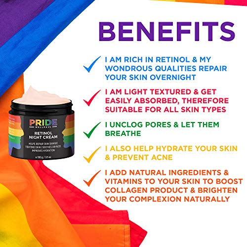 Pride Wellness Retinol Night Cream With Vitamin E & C For Skin Repair, Hydration & Glow For All Skin Types, 100g