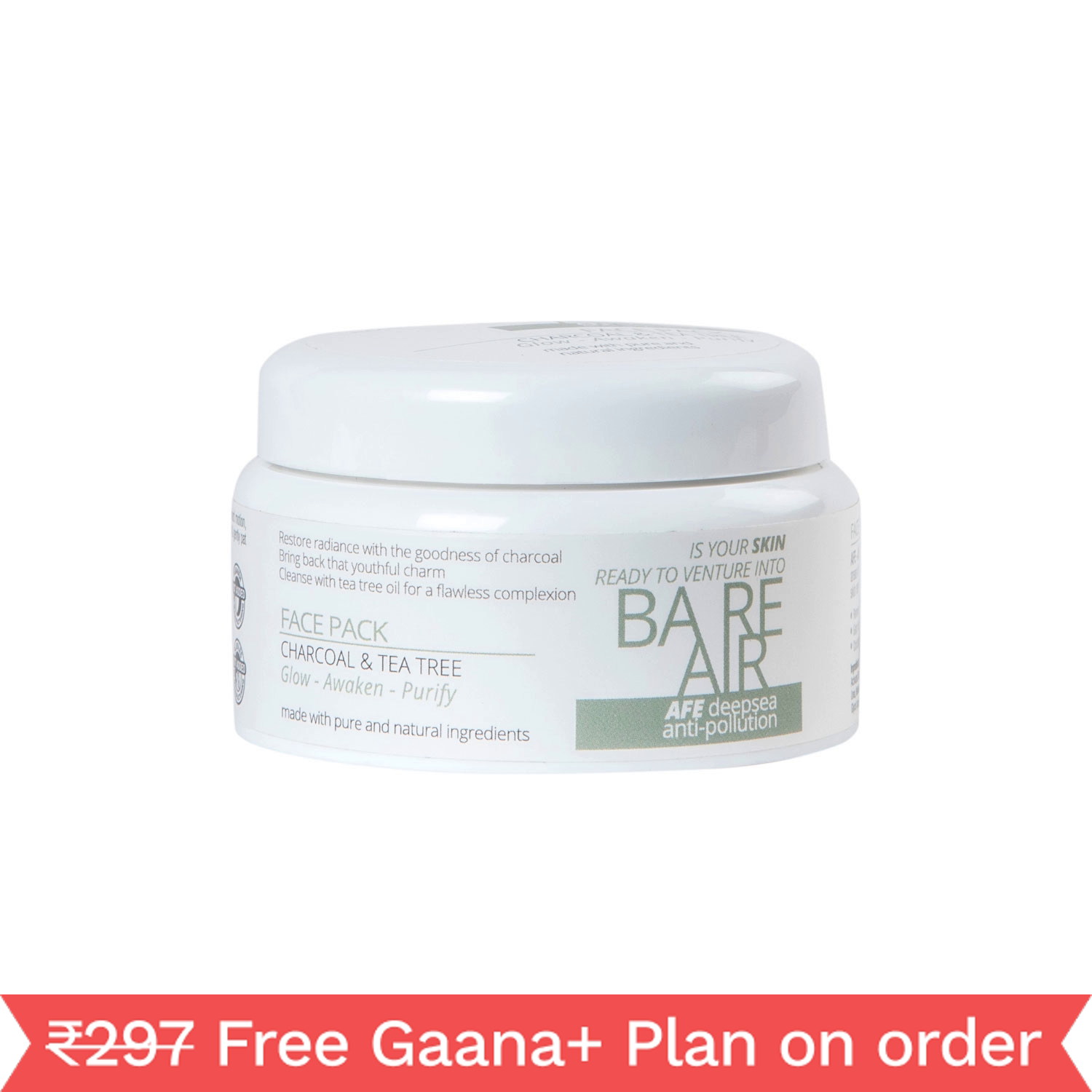 Bare Air Charcoal & Tea Tree Clay Face Pack, 120g
