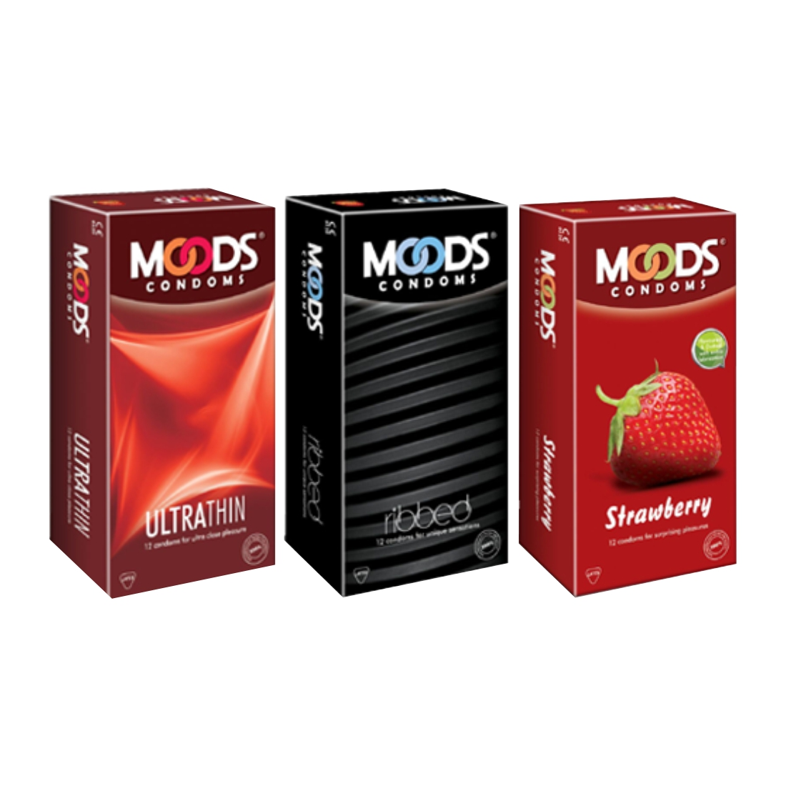 Moods 12S Ultrathin Ribbed And Strawbery Pack Of 3 Condom