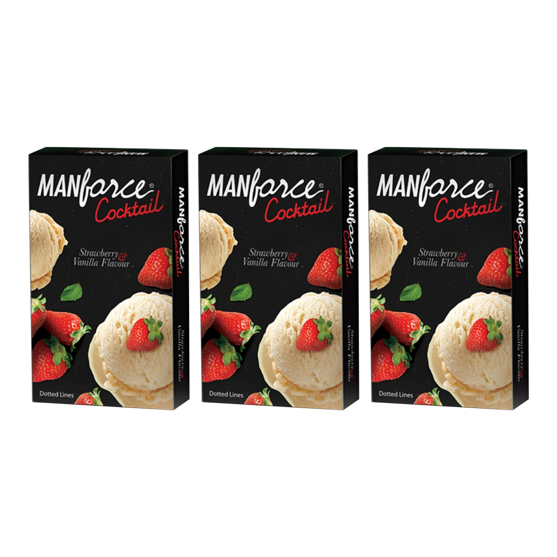 Manforce 10S Cocktail Strawbery Condom ; Pack of 3