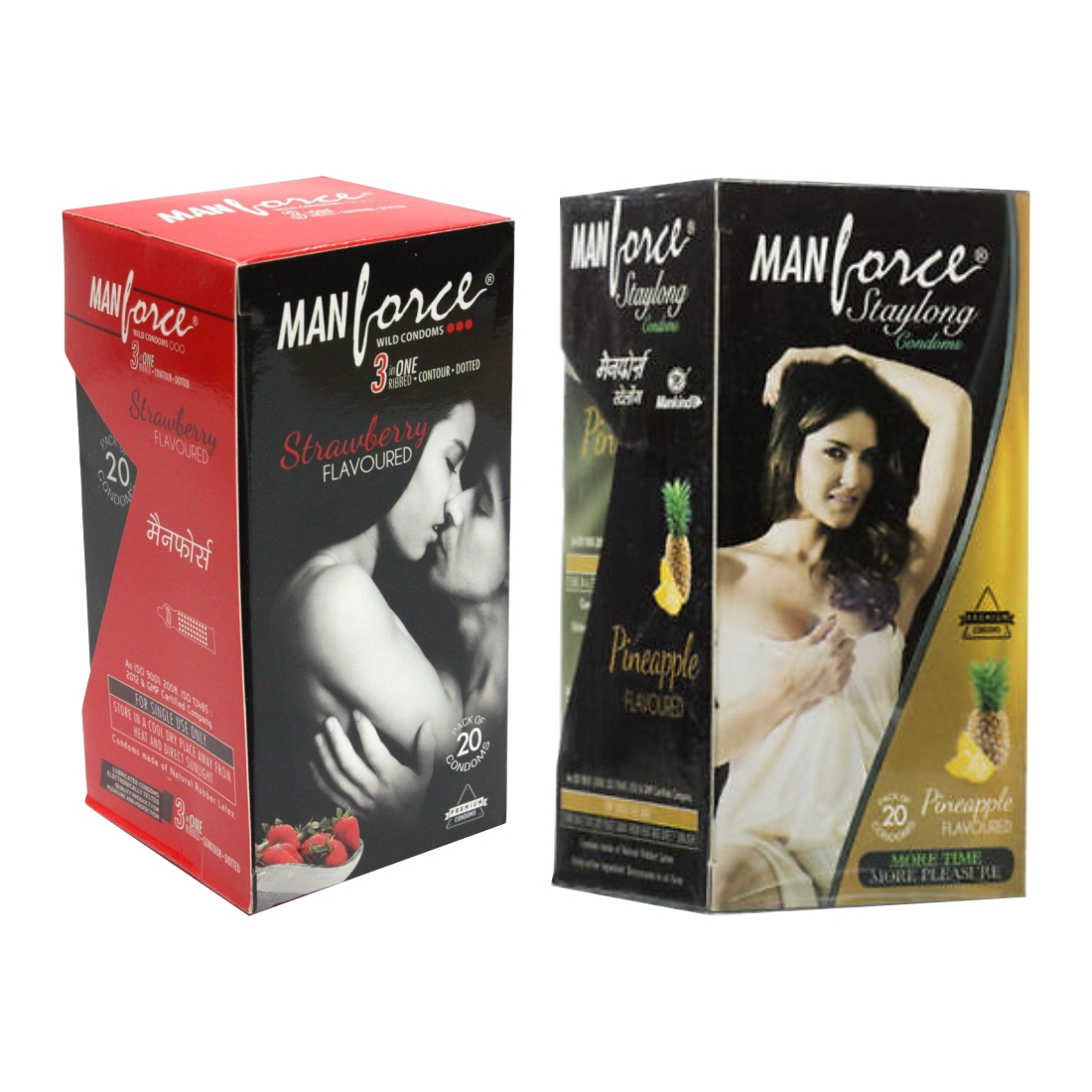 Manforce 20S Strawbery And Pineapple Condom Pack Of 2