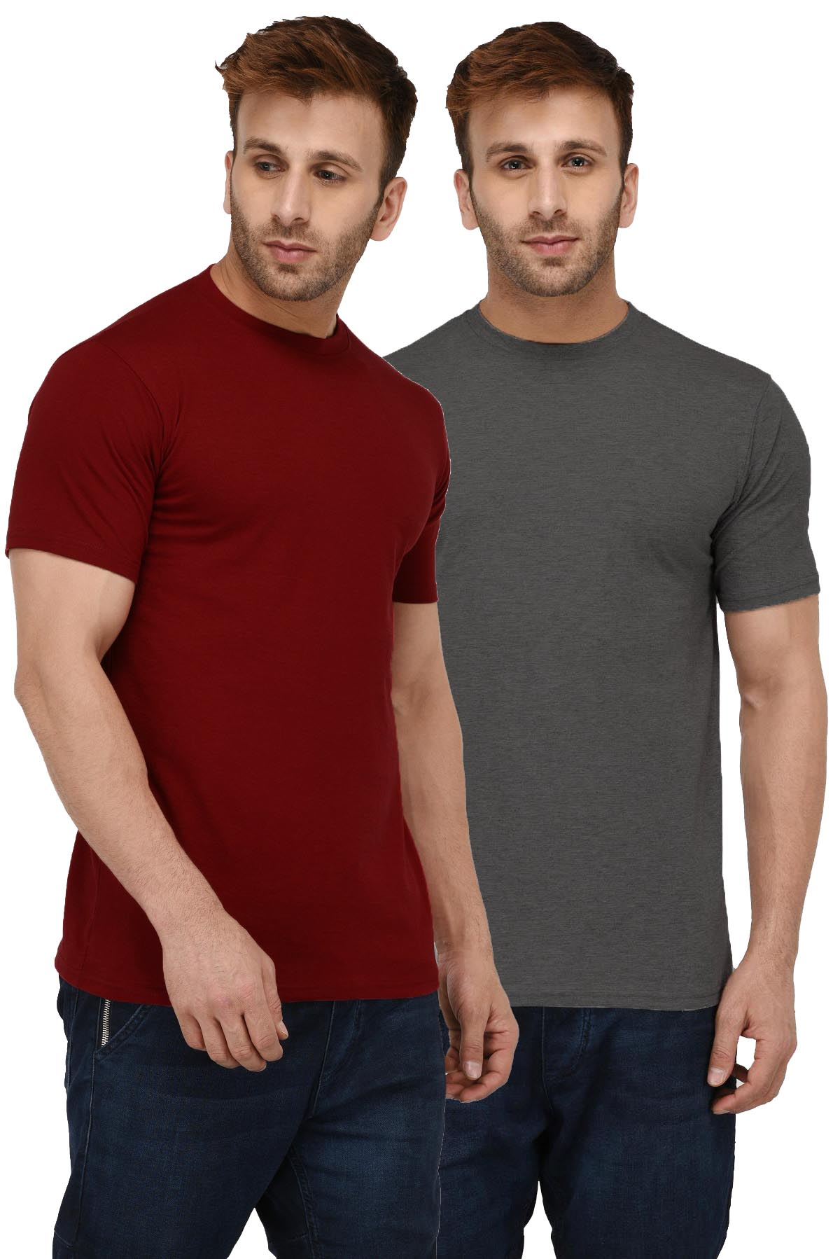 London Hills Men's Pure Cotton Solid Half Sleeve Round Neck Regular Fit Rust Red And Dark Grey T-Shirt (Pack of 2) (LH_T_R_HF_462_453)