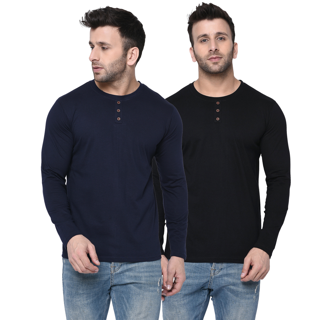 London Hills Men's Pure Cotton Solid Full Sleeve Round Neck Regular Fit Navy Blue and Black T-Shirt (Pack of 2) (LH_T_504_502)