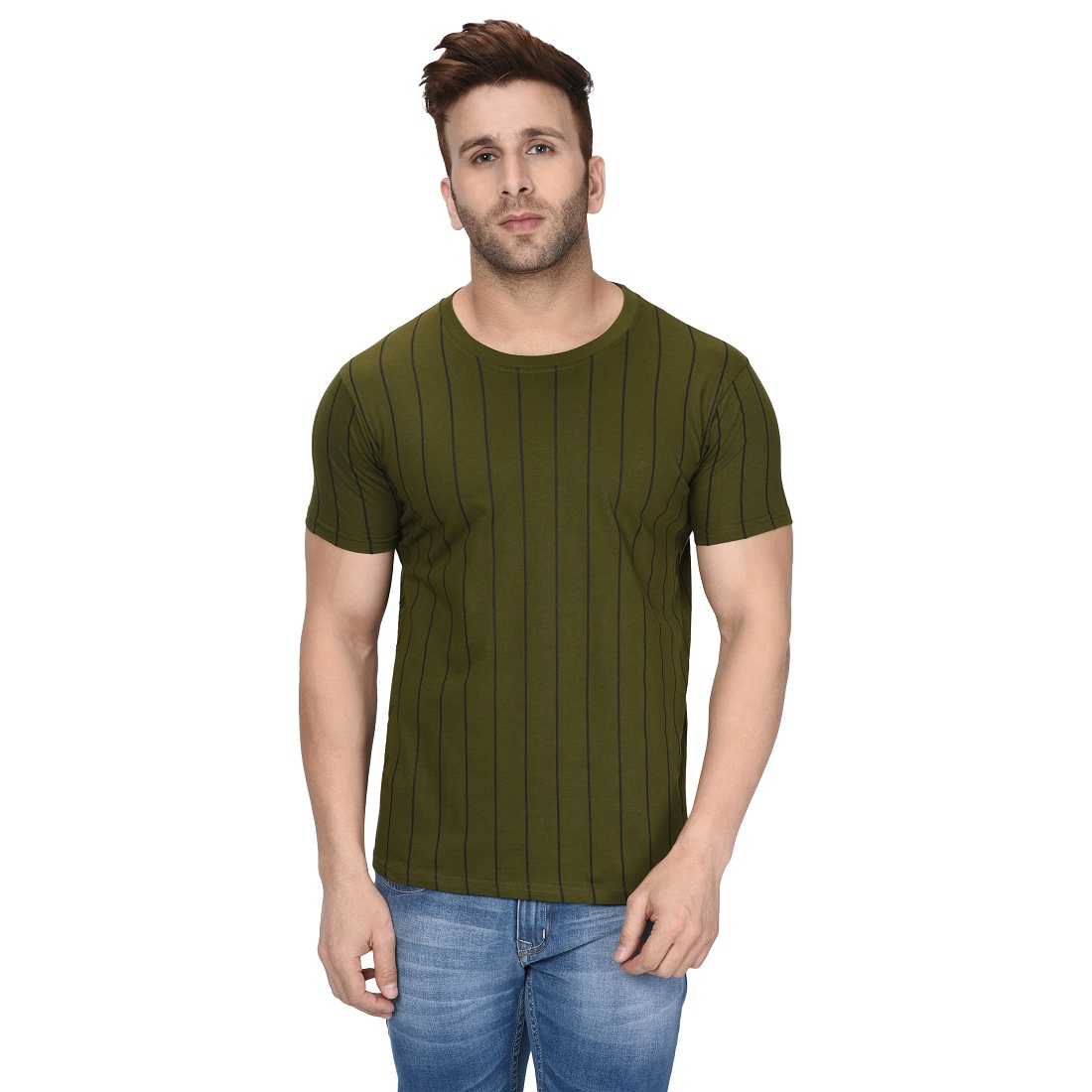 London Hills Men's 100% Pure Cotton Casual Solid Full Sleeve Round Neck Regular Fit Thin Striped Green T-Shirt (LH_T_HF_518)