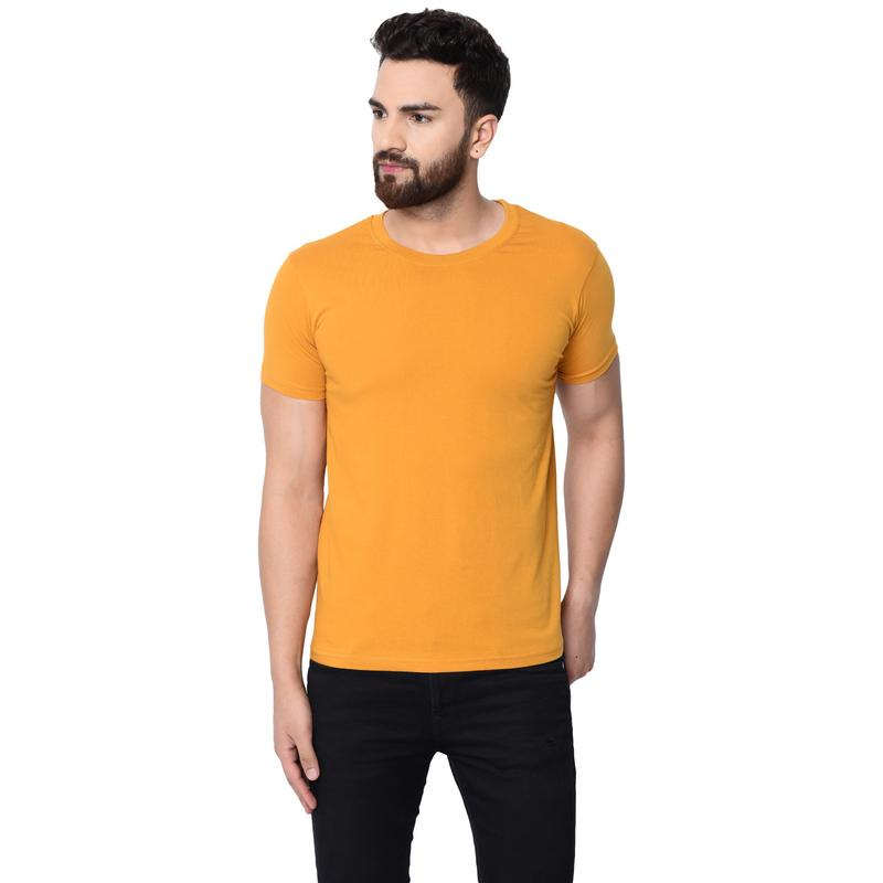 London Hills Men's Pure Cotton Solid Half Sleeve Round Neck Regular Fit Mustard T-Shirt (LH_T_R_HF_464)