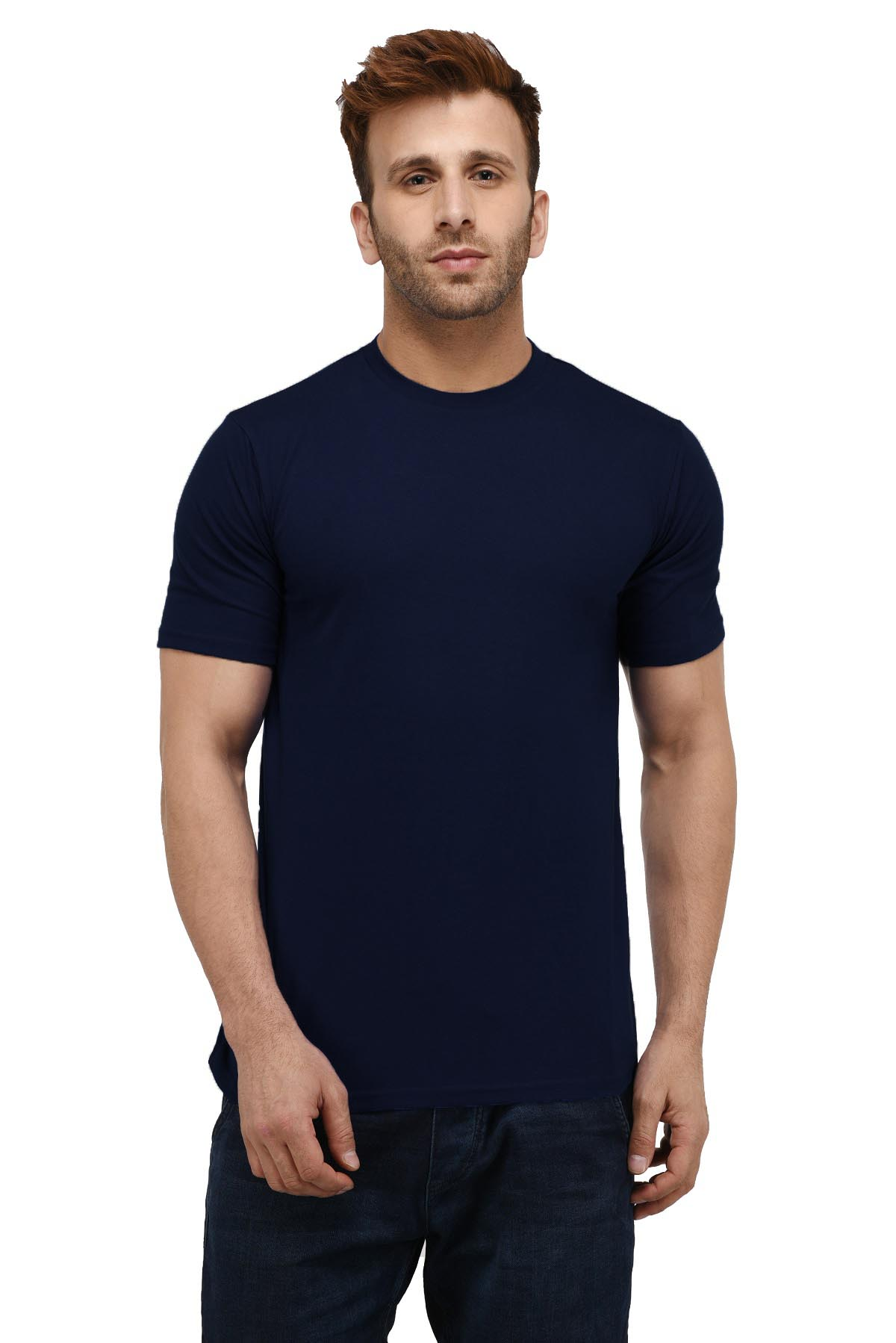 London Hills Men's Pure Cotton Solid Half Sleeve Round Neck Regular Fit Dark Blue T-Shirt (LH_T_R_HF_452)