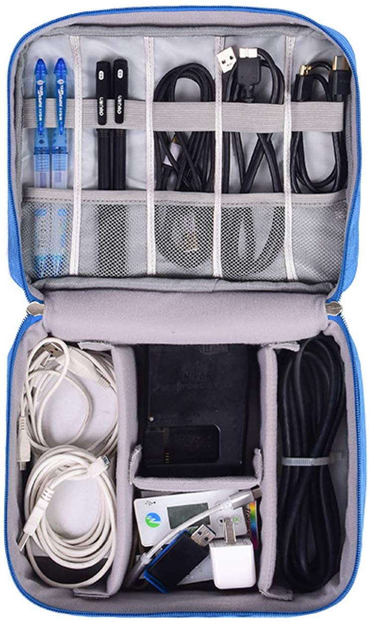 House of Quirk Electronics Accessories Organizer Bag, Universal Carry Travel Gadget Bag for Cables, Plug and More, Perfect Size Fits for Pad Phone Charger Hard Disk