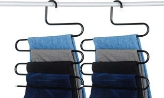 House of Quirk Stainless Steel S-Shape 5 Layers Trouser Pants Hanger Black(2)