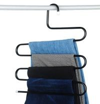 House of Quirk Stainless Steel S-Shape 5 Layers Trouser Pants Hanger (Black, 1pc)
