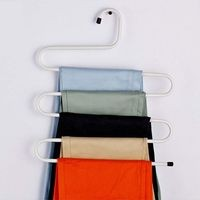 House of Quirk Metal S-Shape 5 Layers Magic Pants Hanger - White 1pc