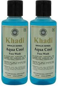 Khadi herbal Aqua Cool, 210ml Face Wash - Pack of 2