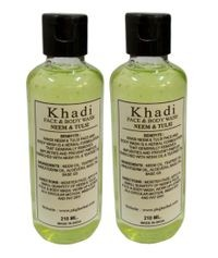 Khadi herbal Neem Tulsi  Face & Tulsi  Face Body wash, 210ml - Pack of 2