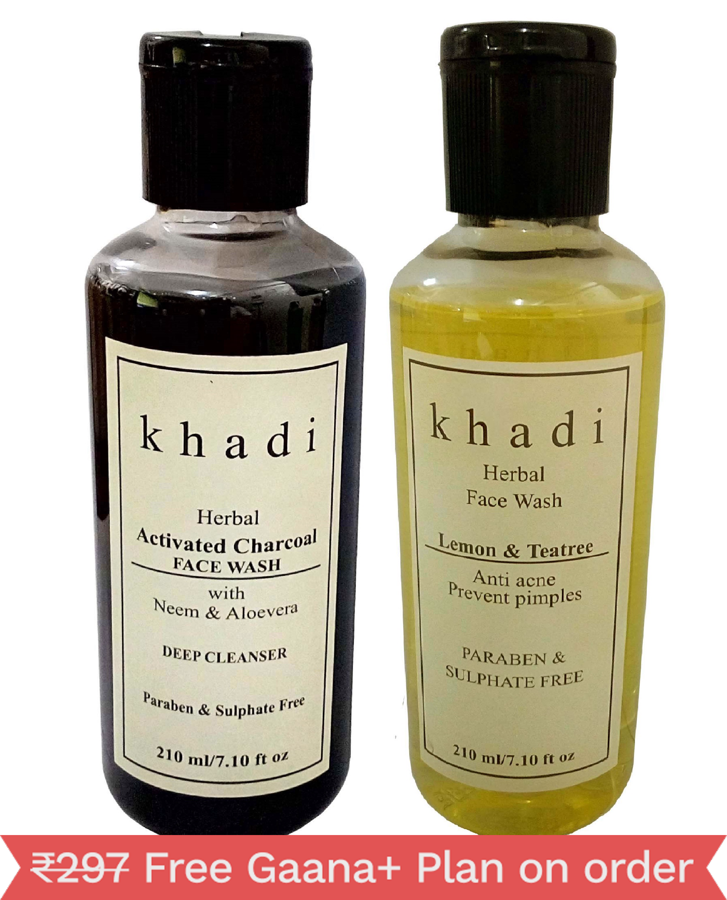Khadi Herbal Face wash combo -Activated Charcoal & Teatree ( PRABEN FREE ) 420ml ( Pack of 2 )