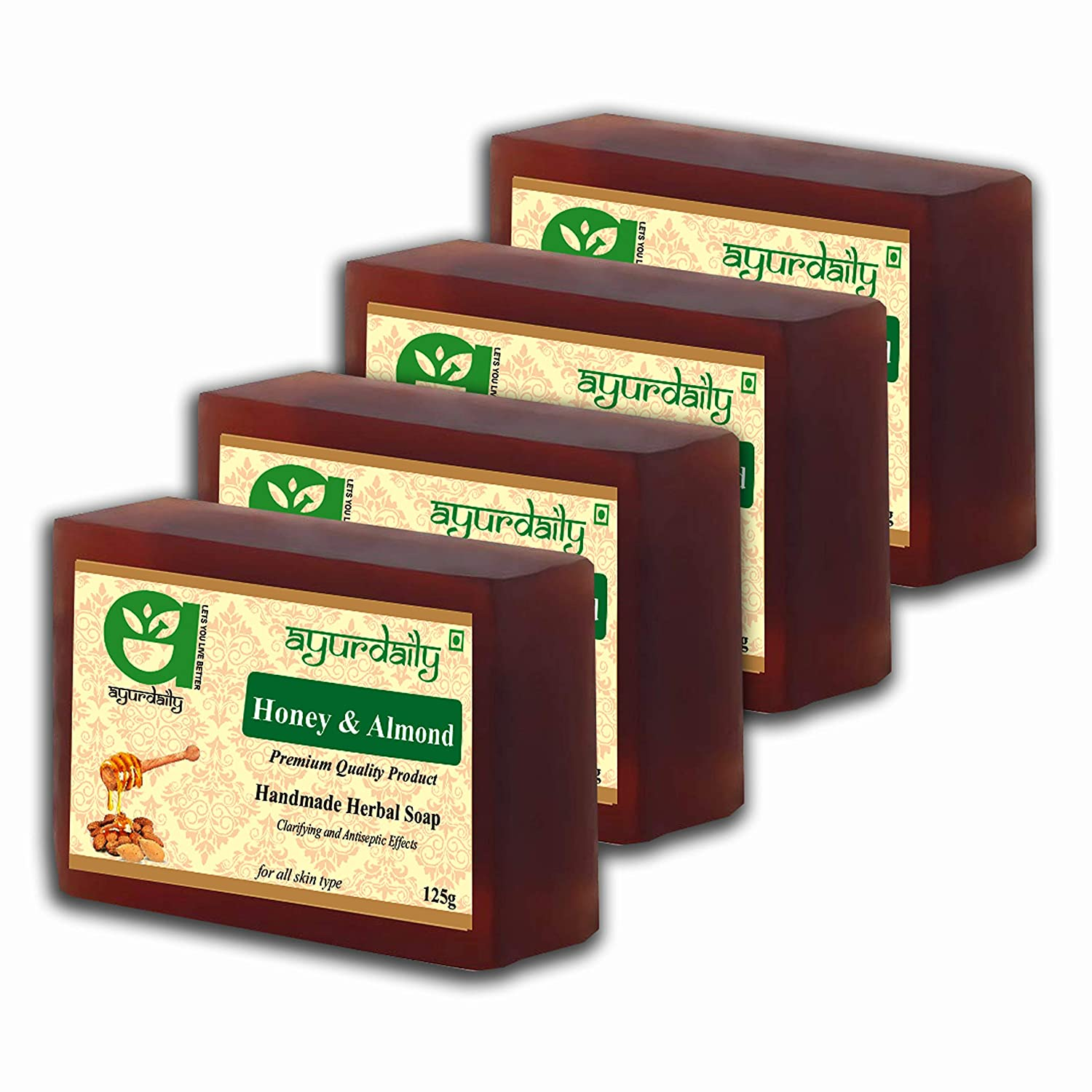 Ayurdaily Herbal Honey & Almond Soap 500g (Pack of 4)