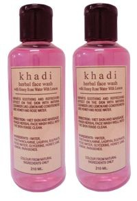 Khadi herbal Honey Rose water with Lemon Face Wash, 210ml - Pack of 2