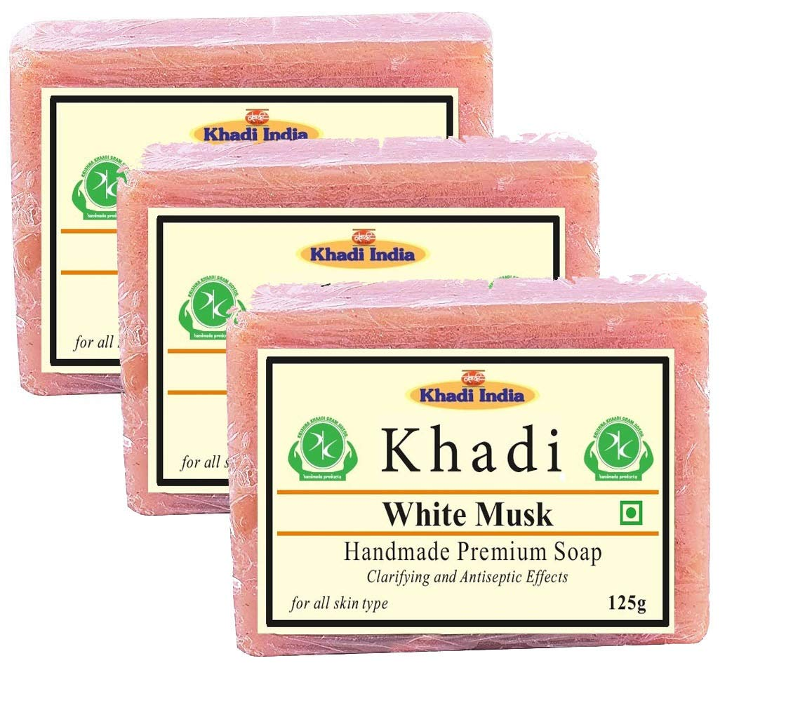 Khadi Herbal White Musk Soap 375gm (Pack of 3)