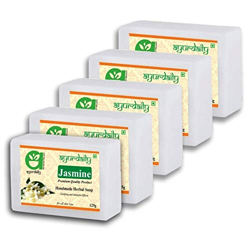 Ayurdaily Herbal Jasmine Soap with Glycerin 625g (Pack of 5)