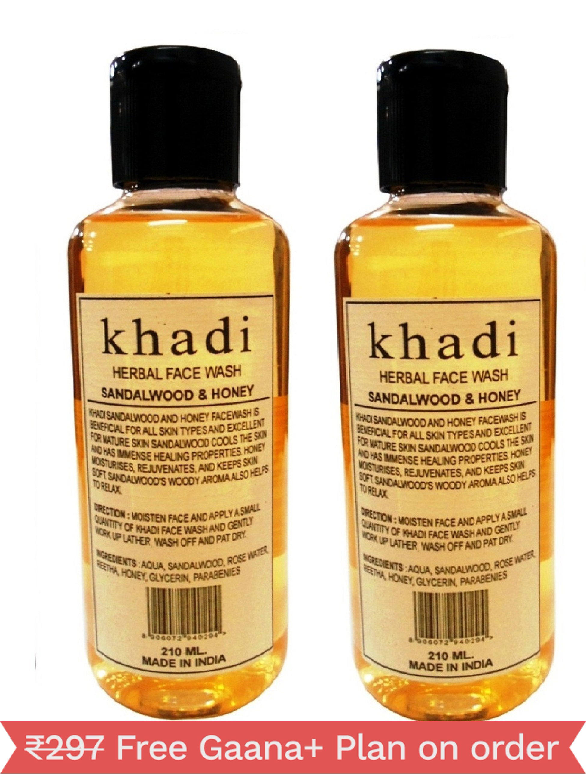 Khadi Herbal Sandalwood & Honey  Face Wash, 210ml - Pack of 2